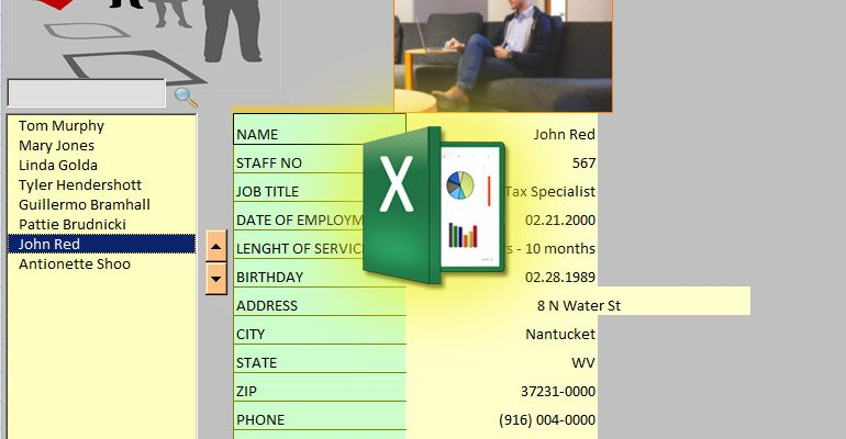 excel staff list with image